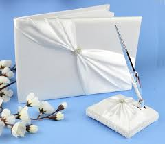 grace satin wedding guest book pen set