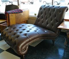 wide faux brown leather wide chaise lounge with tufted