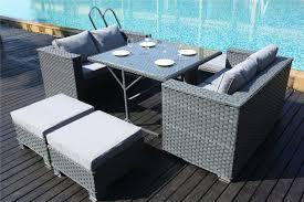 Yakoe Garden Furniture Papaver 8 Seater Grey Cube Dining Rattan Set Furniture Maxi