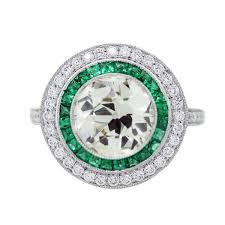 vintage emerald engagement rings 3 carat diamond platinum and emerald vintage style engagement