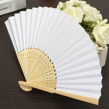 diy fans 5pcs simple blank diy paper folding fan wedding party folding
