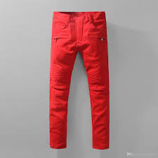 biker pants 2017 red biker fashion zipper design pencil pants super skinny