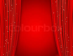 Movie Drapes Red Curtains On Red Background With Glittering Stars Open