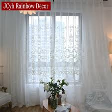 European Lace Curtains Embroidered White Tulle Curtains For Living Room European Voile