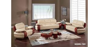 Contemporary Living Room Sets 965 Leather Wood Trim Contemporary Living Room Set