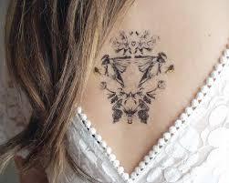 temporary tattoo with chickadee botanical print