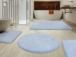 bathroom fluffy bathroom rugs sky blue with brown curtain and