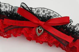 Red And Black Wedding Personalised Bridal Garter Red And Black Lace 60 00 Wedding