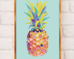 Pineapple Home Decor Pineapple Wall Art Pineapple Print Pineapple Decor