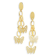 gold dangle earrings 14k bonded gold dangle butterflies open chain earrings earrings