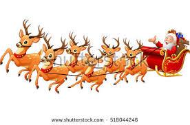 santa claus rides reindeer sleigh stock vector 518044243