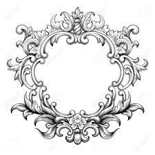 vintage baroque frame border leaf scroll floral ornament engraving