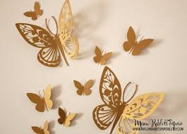 3D Gold Butterfly Wall Decal Set for Weddings Wall Decor Nursery