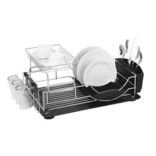 Dish Drainers Rubbermaid Small Chrome Antimicrobial Dish Drainer Fg6008archrom