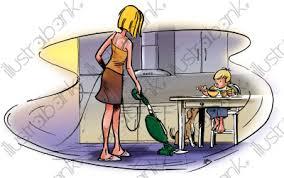 maman cuisine maman passant l aspirateur dans la cuisine illustration a la