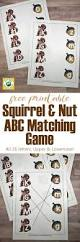 squirrel and nut abc matching game free printables