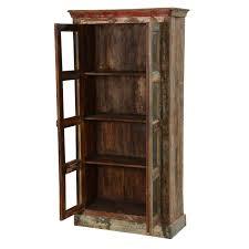 rustic wood display cabinet rustic reclaimed wood glass door tall display cabinet