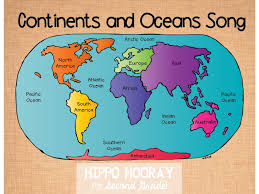 Continents And Oceans Of The World Map by Continents Ocean Song And Video Hippo Hooray For Second Grade