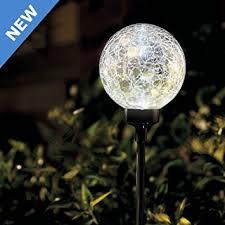 Ball Solar Lights - large white border ball cracked outdoor garden solar amazon co uk