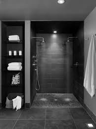 Showerroom Grey Wall Themes Combined By Black Tiles Shower Areas And Black