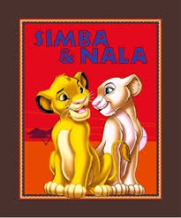 cotton fabric large panel disney lion king simba nala