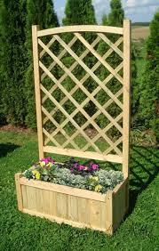 wooden garden double flower planter with trellis for climbing