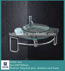 wall mount glass sink bathroom wall mount simple corner glass basin vanity sink and