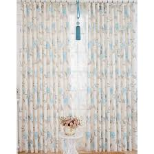 Blue And White Floral Curtains White Blue Polyester Suede Floral Curtains
