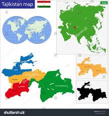 Tajikistan Map Map Administrative Divisions Tajikistan Stock Vector 182915498