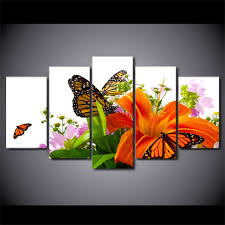 framed 5 lilies and orange butterflies canvas wall sets