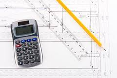 House Building Calculator Model Of Cardboard House With Key Calculator Notebook Pen And