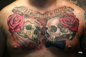 skulls and roses chest tattoomagz