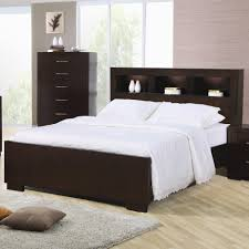 modern dark brown wooden storage bed frame with lighted