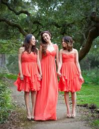 pictures on orange and ivory bridesmaid dresses plus size