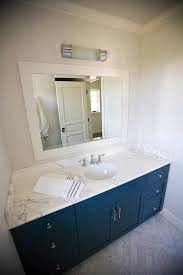 Build Your Own Bathroom Vanity Cabinet - bathroom navy vanity with industrial rivet medicine cabinet blue