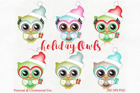 cute holiday christmas owl graphics illustrations creative market