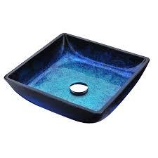 shop anzzi viace blazing blue tempered glass square vessel