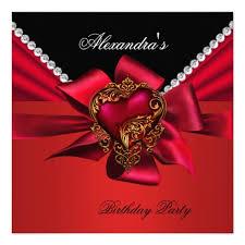 elegant red heart gold diamond birthday party zizzago