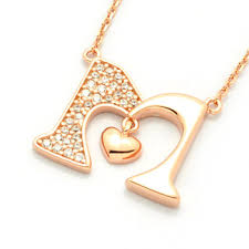 heart shaped charm necklace images Cubic zirconia pave gold plated letter initial alphabet m with jpg