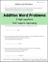 addition word problems grade addition word problems with regrouping word problems equation