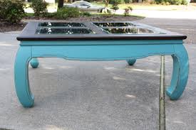 teal coffee table with glass inserts not too shabby my own