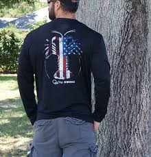 Black American Flag Shirt American Flag Spiny Lobster Black Upf Long Sleeve Shirt Country