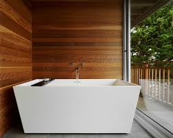creating a feel with wood in contemporary bathrooms
