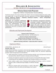 Special Education Paraprofessional Resume Teacher Special Education Sample Resume Dillard U0026 Associates