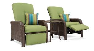sawyer patio recliner set includes 2 recliners and side table