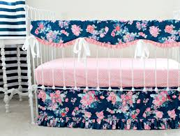 navy floral crib rail cover navy and pink nursery baby