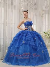 royal blue quinceanera dress appliques beading organza discount