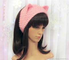 knitted headband headband with cat ears knitted hair pink shop online on