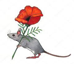 mouse carrying flower color pencil art u2014 stock photo joyart