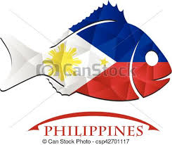 fish logo made from the flag of philippines vector clip